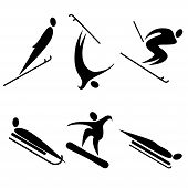 stock photo of olympic-games  - set of winter sports icons - JPG
