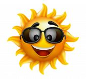 pic of happy day  - Summer Sun Face with sunglasses and Happy Smile - JPG