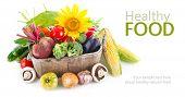 picture of wooden basket  - Fresh vegetables in wooden basket - JPG