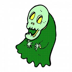 image of ghoul  - retro comic book style cartoon spooky ghoul - JPG