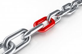 foto of shackles  - Steel chain with red link - JPG