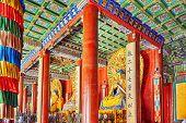 stock photo of lamas  - Interior view of Yonghegong Lama Temple - JPG
