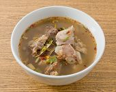stock photo of thai cuisine  - Thai Cuisine and Food Delicious Thai Clear Spicy Hot and Sour Soup with Beef Entrails in A Bowl. ** Note: Soft Focus at 100%, best at smaller sizes - JPG