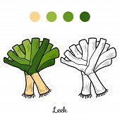 stock photo of leek  - Coloring book for children - JPG