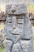 pic of stone sculpture  - Grey lava stone sculpture of an old king - JPG