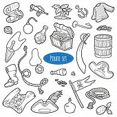 picture of pirate flag  - Vector set of pirate items colorless cartoon collection - JPG