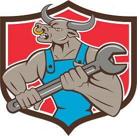 foto of minotaur  - Illustration of a minotaur bull mechanic looking to the side holding giant spanner set inside shield crest on isolated background done in cartoon style - JPG