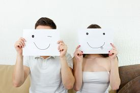 image of crazy face  - Couple have funy face expressions - JPG