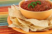 Salsa, Jalapeno Pepper Slices And Tortilla Chips