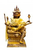 image of brahma  - Golden Brahma statue from front on white isolated - JPG