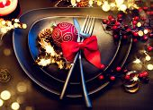 Christmas And New Year Holiday Table Setting. Celebration. Place setting for Christmas Dinner party. poster