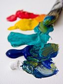 stock photo of paint brush  - Artists paint and brush - JPG