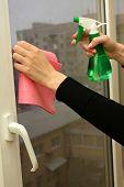 Hands spray clean the window