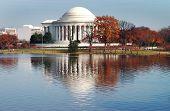 Jefferson Monument Reflectioin In Autumn