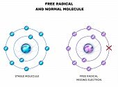 Free Radical With Missing Electron, Unpaired Electron, And Stable Molecule. poster