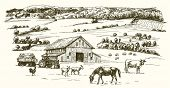 Farm animals grazing on meadow. Farm on the background. Hand drawn illustration. poster