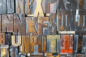stock photo of lithographic  - Collection of old retro block lithograph letters - JPG