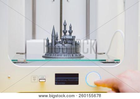 White 3d Printer During Work