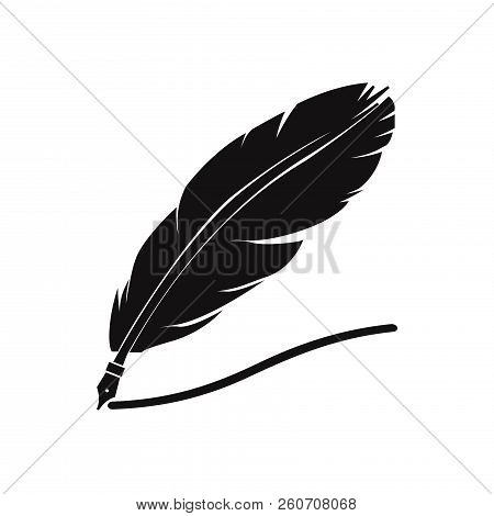poster of Feather Pen Icon Isolated On White Background. Feather Pen Icon In Trendy Design Style. Feather Pen