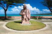 Cristoforo Colombo memorial statue on the place where he first time arrived in  Baracoa, Guantanamo