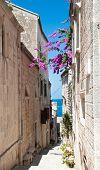 Narrow street in old medieval town Korcula by suny day. Croatia, Dalmatia region, Europe.