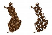 Finland -  Map Of Coffee Bean, Republic Of Finland Map Made Of Coffee Beans, poster