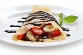 Strawberry Banana Crepe with Chocolate syrup