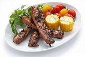 Pork spare ribs on a plate