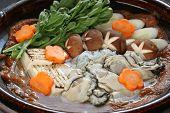 Kaki Dotenabe, Auster gekocht in einem Topf auf den Tisch, japanisches Essen