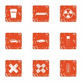 Chemical Ingredient Icons Set. Grunge Set Of 9 Chemical Ingredient Icons For Web Isolated On White B poster
