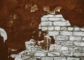 Empty Old Brick Wall Texture. Plastered Wall. Old Stucco. Old Damaged Brick Wall With Brown Plaster. poster