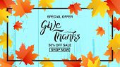 Thanksgiving Typography. Give Thanks Special Offer Sale Hand Drawn Lettering With Autumn Leaves Elem poster