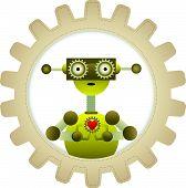Yellow Robot Gripping Gear Heart