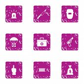 Working Atmosphere Icons Set. Grunge Set Of 9 Working Atmosphere Icons For Web Isolated On White Bac poster