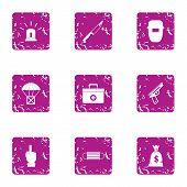 Working Atmosphere Icons Set. Grunge Set Of 9 Working Atmosphere Icons For Web Isolated On White Bac poster