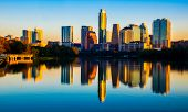 Morning Sunrise At Town Lake Austin , Texas , Usa Skyline Cityscape Mirrored Reflections Illuminated poster
