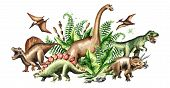 Group Of Dinosaurs With Prehistoric Plants. Watercolor Hand Drawn Illustration Isolated On White Bac poster
