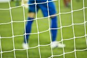 Net and soccer player