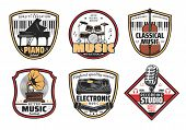 Musical Instrumentsvector Icons. Piano And Drums, Violin And Gramophone, Dj Panel With Vinyl Disc An poster