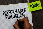 Word Writing Text Performance Evaluation. Business Concept For Evaluates Employee Performance Overal poster