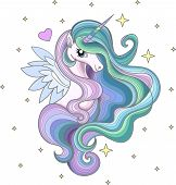 A Beautiful Rainbow Unicorn With A Long Mane Among The Stars. For The Design Printov.yu T-shirts And poster