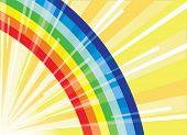 Arco-íris no fundo dos raios do sol. Ilustração vetorial