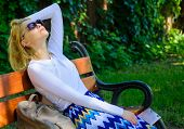 Dream Vacation. Woman Blonde With Sunglasses Dream About Vacation, Take Break Relaxing In Park. Girl poster