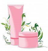Cream tubes on floral background. Vector illustration