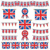 stock photo of union  - united kingdom decorative banners and bunting isolated on white - JPG