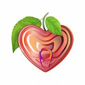 Red Tin Can Heart With Ring Pull, Top View. Modern Valentines Sign. Packaging That Represent Love, J poster