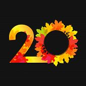 20 Th Years Old Logotype. Bright Red Leaves, Coloured Offer, Congratulating Celebrating Decorating T poster