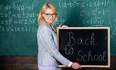 School Teacher Happy Welcome Pupils. Great Beginning Of School Year. Top Ways To Welcome Students Ba poster