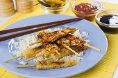 Grilled asian skewed chicken meat with cooked rice and baby corn