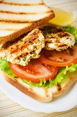 Grilled chicken sandwich with tomato and lettuce